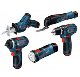 Набор 12V (10,8 В) 5-в-1 Bosch GSR + GOP + GDR + GSA + GLI PowerLED + оснастка (L-BOXX) Professional (0615990GE8, 0 615 990 GE8)