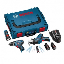 Набор 10,8 В 3-в-1 Bosch GSR + GSA + GLI PowerLED + 8 пильных полотен для GSA (L-BOXX) Professional (0615990G02, 0 615 990 G02)